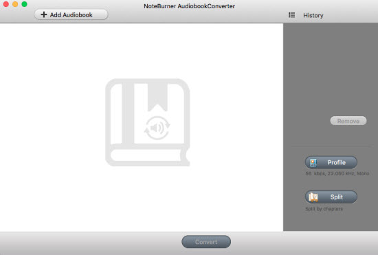 interface of noteburner audiobook to mp3 converter for mac