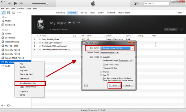 Burn iTunes Music on iTunes 12.2